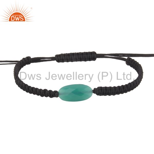 Spiritual Gemstone Green Onyx Black Macrame Adjustable Shamballa Bracelet