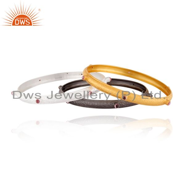 22K Gold Plated Sterling Silver Pink Tourmaline Gemstone Bangle Set Of 3 Pieces
