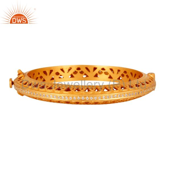 18K Gold Plated 925 Sterling Silver Cubic Zirconia Designer Openable Bangle