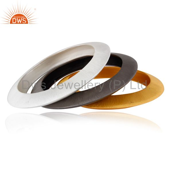 22k yellow gold plated sterling silver brushed finish set 3 bangle