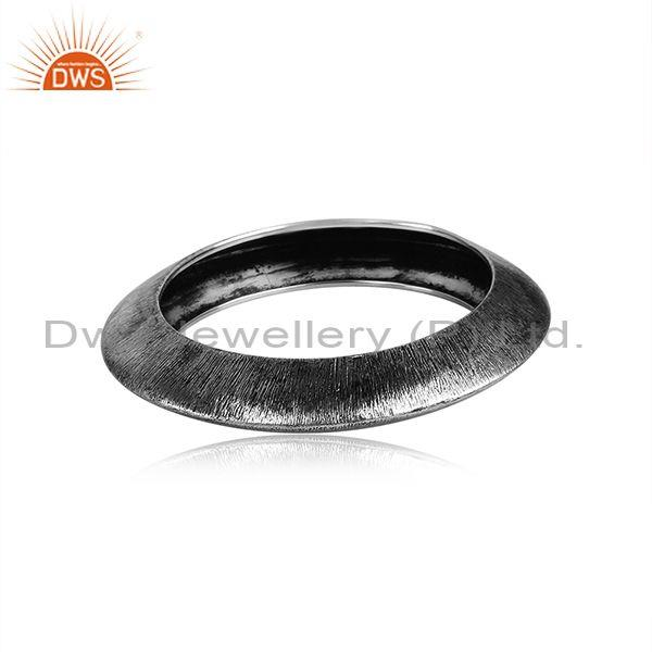 Handmade And Handhammered Oxidized Silver Statement Bangle