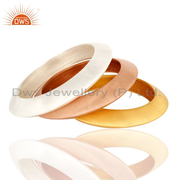 18k gold plated sterling silver brushed finish bangle set of 3 pcs