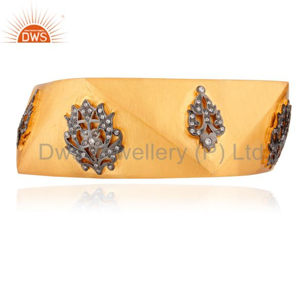 18K Gold Plated Sterling Silver Cubic ZIrconia Wedding Fashion Wide Bangle