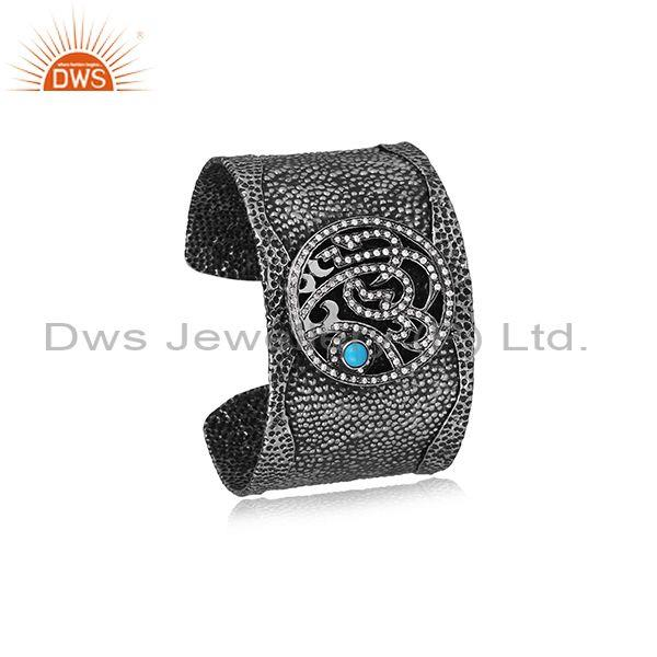CZ And Turquoise Set Hammered Oxidized 925 Silver Cuff