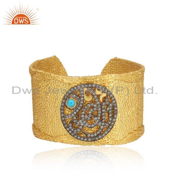 CZ And Turquoise Set Gold Plated 925 Silver Handmade Bangle