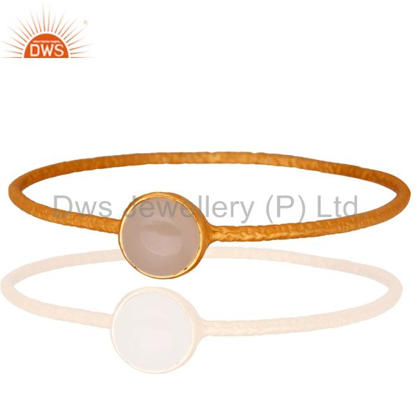 Solid 925 Sterling Silver Rose Chalcedony Gemstone 18K Yellow Gold Plated Bangle