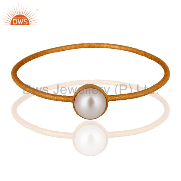 18k Gold Plated 925 Sterling Silver Natural Pearl Handmade Bangle Jewelry