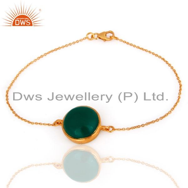 18k gold plated sterling silver green onyx and cz fashion bracelet jewelry
