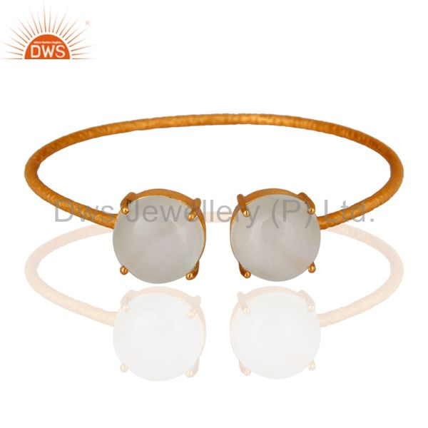 Handmade 925 Sterling Silver 18k Gold Plated White Moonstone Bangle Jewelry