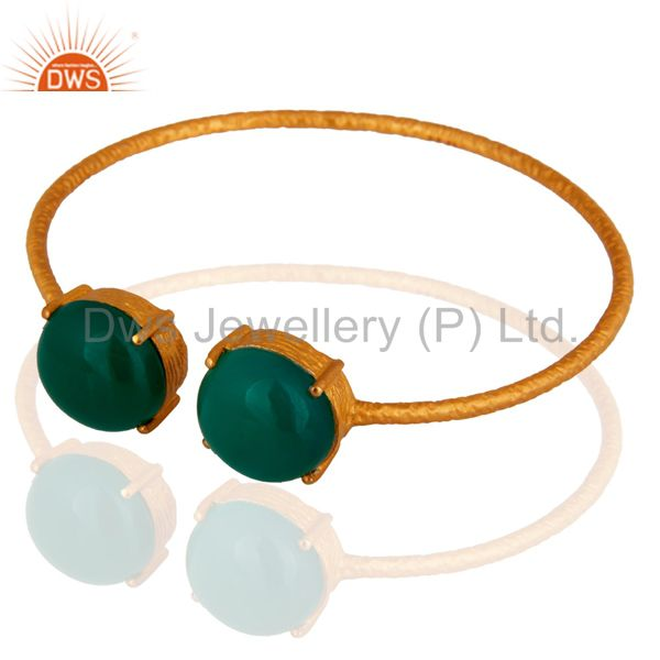 18K Yellow Gold Plated Sterling Silver Green Onyx Gemstone Open Bangle