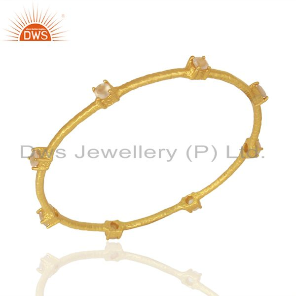 18k gold plated 925 sterling silver citrine gemstone bangle jewelry