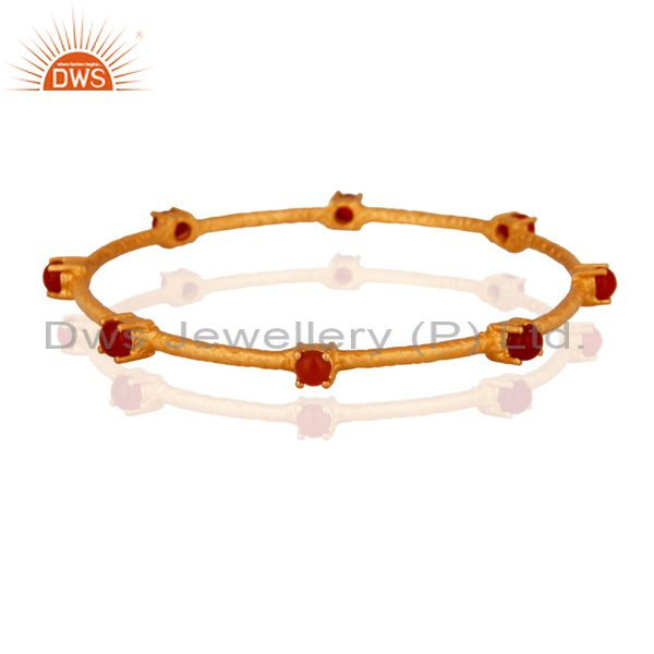 925 Sterling Silver Gold Plated Red Onyx Gemstone Sleek Designer Bangle Jewelry