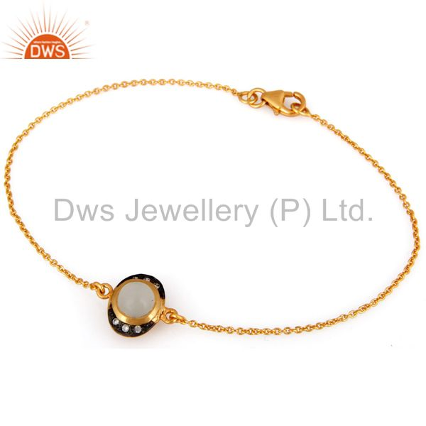 18k yellow gold plated sterling silver white moonstone chain bracelet with cz
