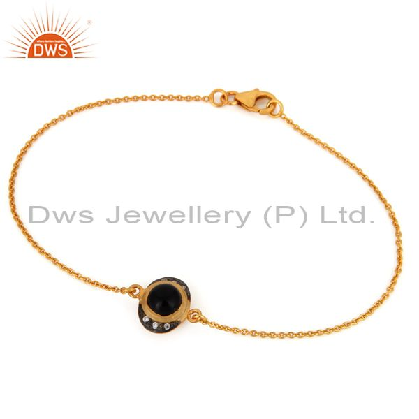 925 Sterling Silver Black Onyx Gemstone Gold Plated Chain Bracelet Jewelry