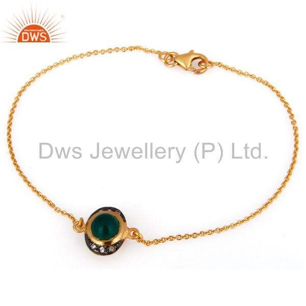 18K Gold Plated Sterling Silver Green Onyx And CZ Chain Bracelet 7.50