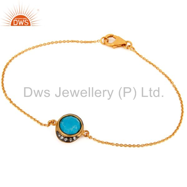 Natural Turquoise Gemstone 18k Yellow Gold Plated Fashion Chain Bracelets
