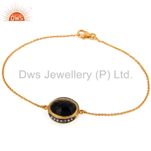 18K Gold Plated 925 Sterling Silver Black Onyx Gemstone Chain Bracelets