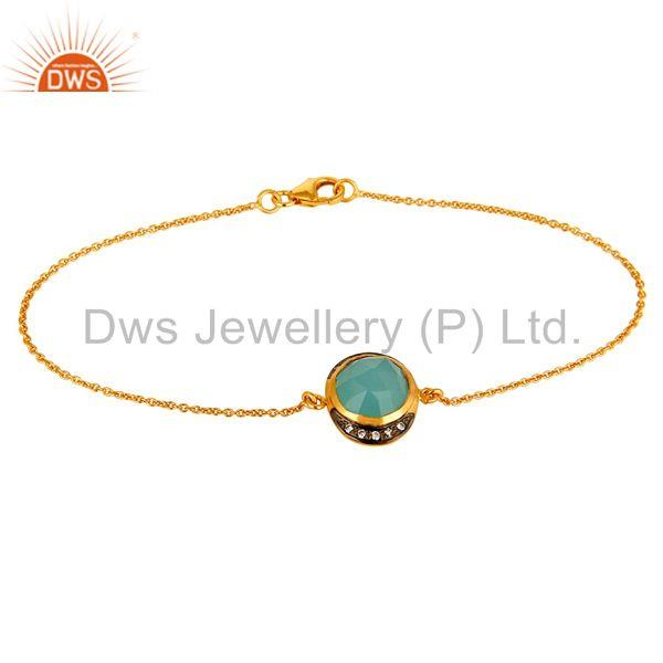 18K Yellow Gold Plated Sterling Silver Aqua Chalcedony Designer Chain Bracelet