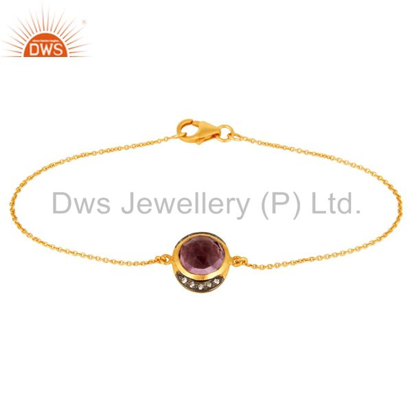 925 Sterling Silver Amethyst Gemstone Bracelet With CZ - Gold Plated
