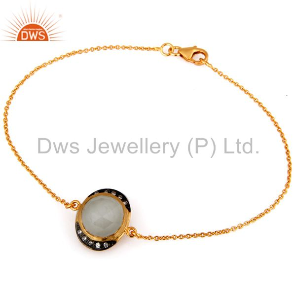 Faceted white moonstone sterling silver bracelet with gold plated