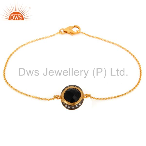 18K Gold Plated Sterling Silver Black Onyx And CZ Fashion Chain Bracelet