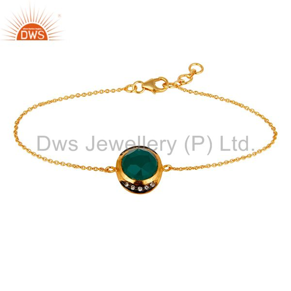18K Gold Plated Sterling Silver Green Onyx And CZ Fashion Chain Bracelet