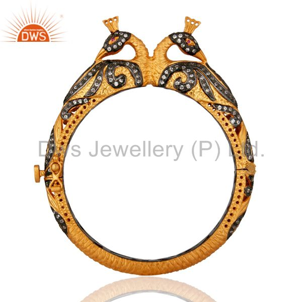 22K Yellow Gold Plated Sterling Silver Peacock Designer Peacock Bangle With CZ