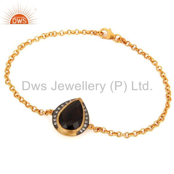 SMoky Quartz And CZ Sterling Silver Womens Fashion Bracelet With Gold Plated