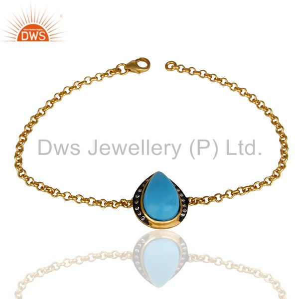 14K Yellow Gold Plated 925 Sterling Silver Handmade Turquoise CZ Chain Bracelet