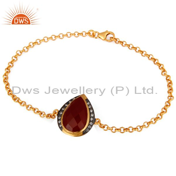 18K Yellow Gold Plated Sterling Silver Chain Bracelet With Red Onyx And CZ