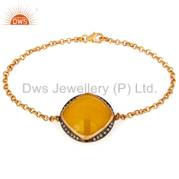 Yellow Moonstone And CZ Sterling Silver Chain Bracelet - Gold Plated Jewelry