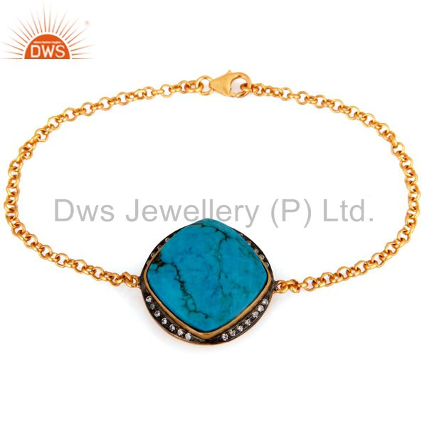 18K Gold Plated Sterling Silver Turquoise And CZ Fashion Bracelet Jewelry