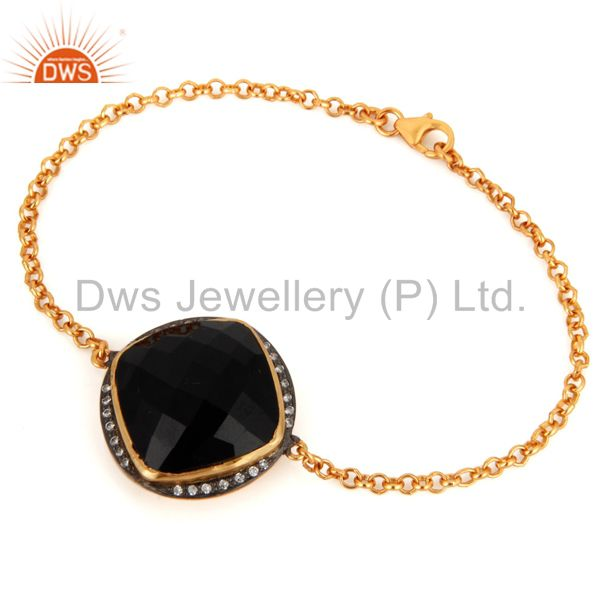 Black onyx and white zircon gold plated sterling silver chain bracelet