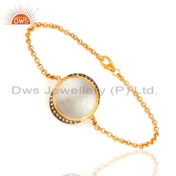 Natural crystal quartz 14k gold plated sterling silver chain bracelet with cz