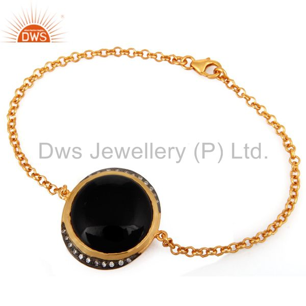 Natural Black Onyx & CZ Sterling Silver Womens Fashion Bracelet With Gold Plated