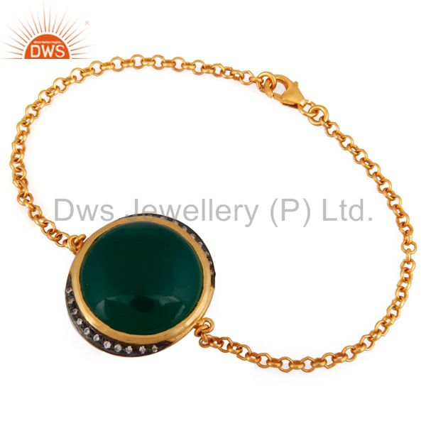 18K Gold Plated Sterling Silver Green Onyx Gemstone Bracelet With CZ
