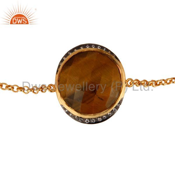 Natural Tiger Eye Gemstone 18K Gold Plated Sterling Silver Bracelet With CZ