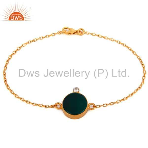 Handmade Gold-Plated 925 Sterling Silver Green Onyx Gemstone Bracelets