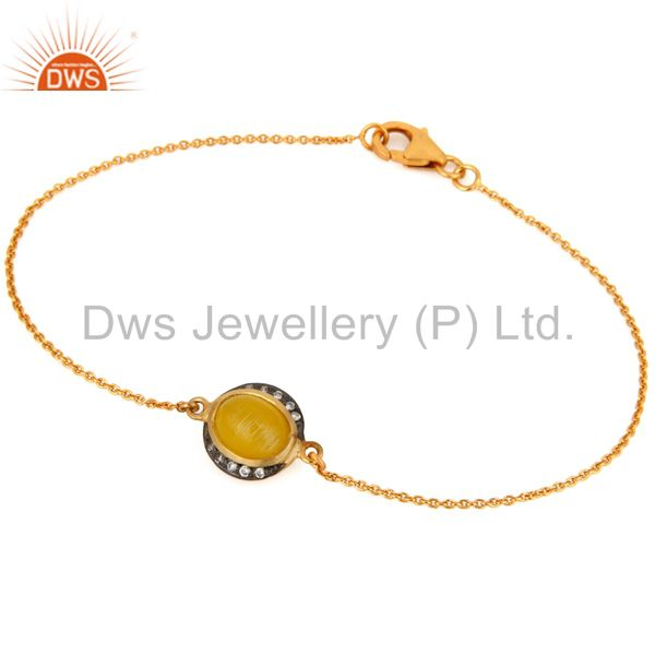 18k gold plated 925 sterling silver yellow moonstone bracelet for birthday gifts