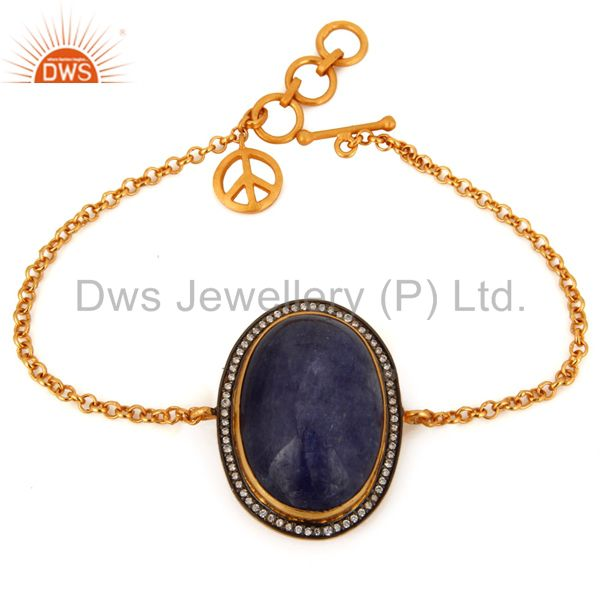 Handmade Gold Plated Sterling Silver Peace Charm Tanzanite Gemstone Bracelet