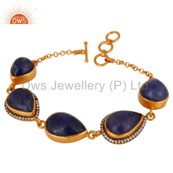 Handmade 925 Sterling Silver With 24k Gold Plated Natural Tanzanite Bracelet