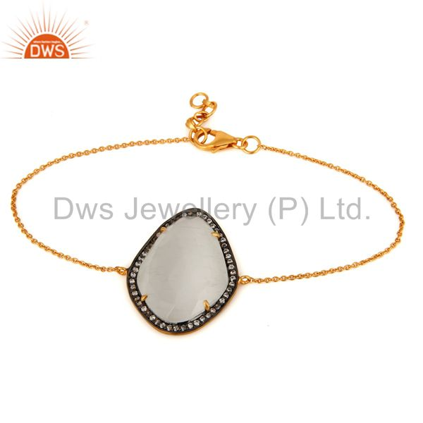White Moonstone & CZ 925 Sterling Silver With Gold Plated Chain Bracelet