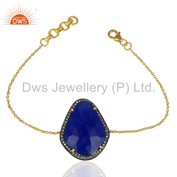 Blue Aventurine CZ 14K Yellow Gold Plated 925 Sterling Silver Chain Bracelet