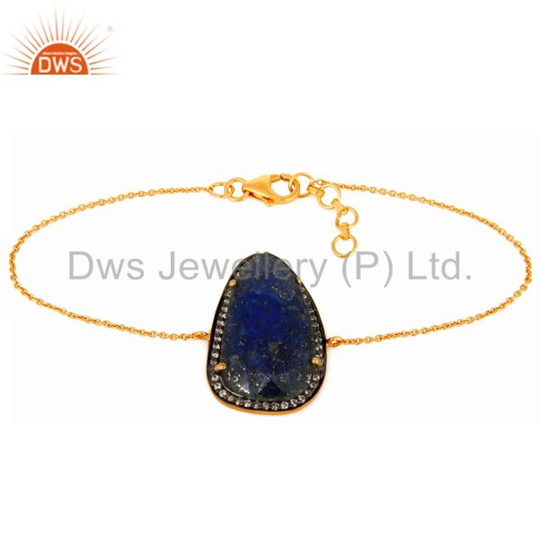 Natural lapis lazuli gemstone bacelet in 18k gold over sterling silver jewelry