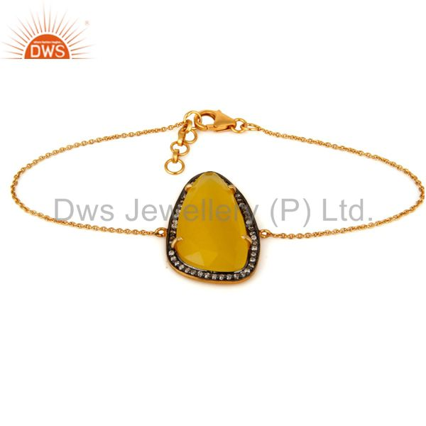 Yellow Moonstone Designer Look 18K Yellow Gold Plated Gemstone Bracelet With CZ
