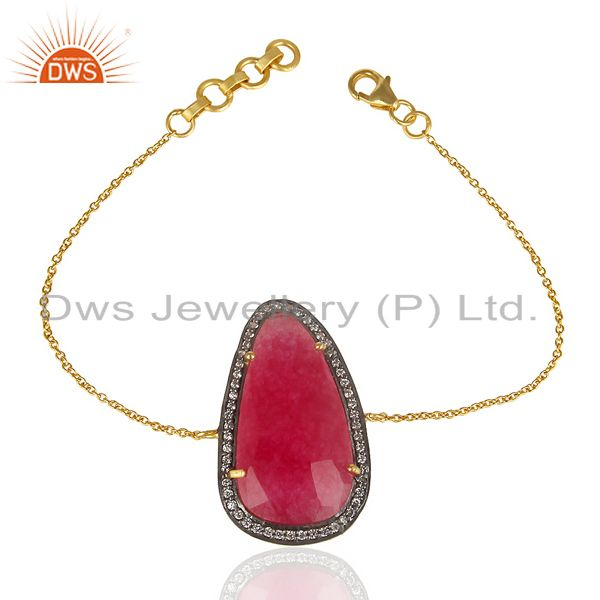 Red aventurine cz 14k yellow gold plated 925 sterling silver chain bracelet