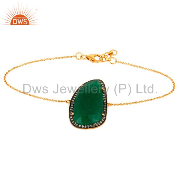 Green Aventurine Gemstone Sterling Silver With 18K Gold Plated Chain Bracelets