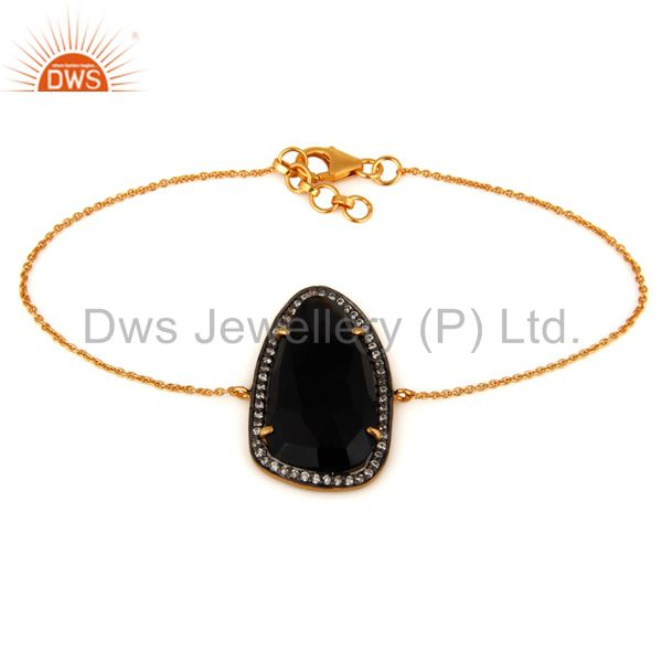 18K Gold Plated Sterling Silver Black Onyx Gemstone Designer Bracelet With CZ