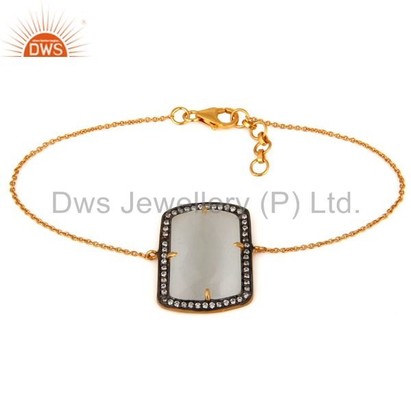 Lab-Created White Moonstone 925 Sterling Silver Bracelet With 18K Gold Plated