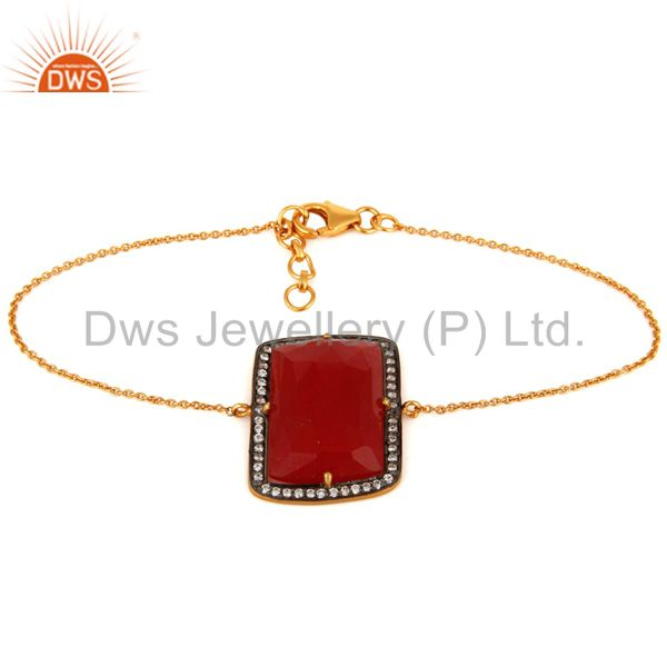 CZ & Red Onyx Gemstone Sterling Silver With Gold Plated Womens Fashion Bracelet